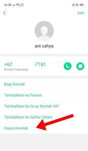 Privasi Foto Profil WA Dengan Hapus Nomor Kontak