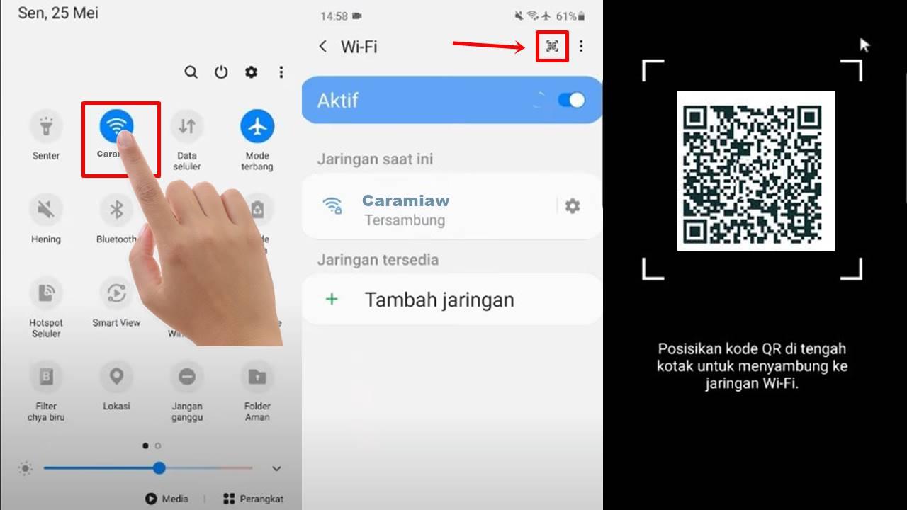 Cara Memindai Kode QR Wifi di HP Samsung