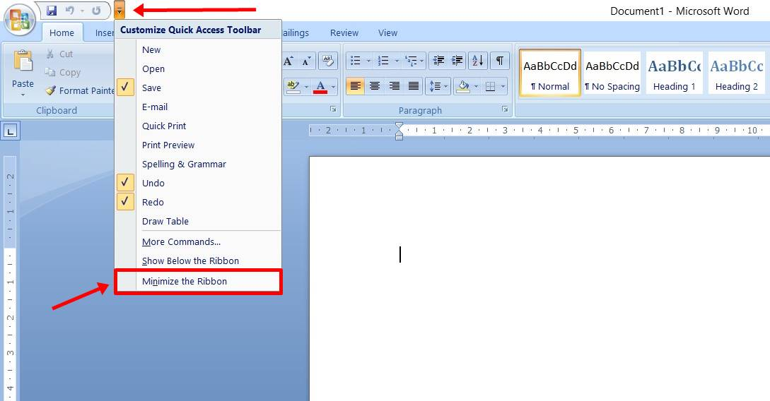 Cara Menampilkan Menu Di Word 2007 normal