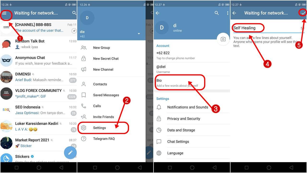 Cara Membuat Status Bio di Telegram