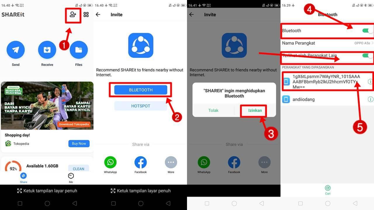Cara Mengirimkan Shareit Lewat Bluetooth Fitur Invite